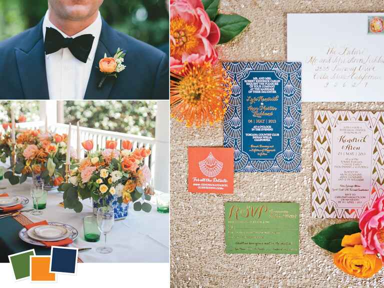 Hunter green, orange and navy fall wedding color palette