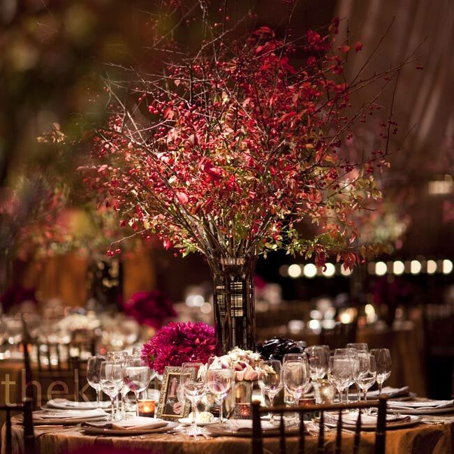 Crabapple branch centerpieces for Twig centerpieces for weddings