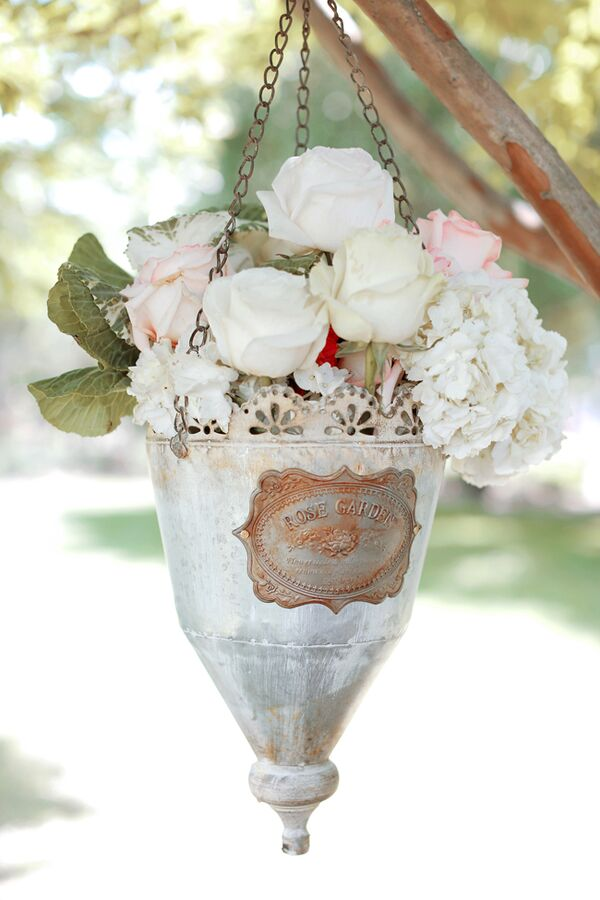 Vintage Hanging Aluminum Planter With Neutral Roses