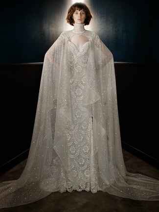 lace wedding dress with embellished tulle high neck cape