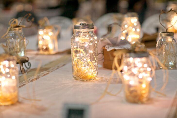Diy Raffia And String Light Centerpieces