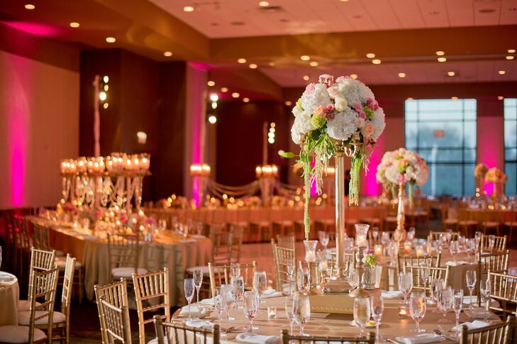 Cascading Amaranth and Hydrangea Centerpieces