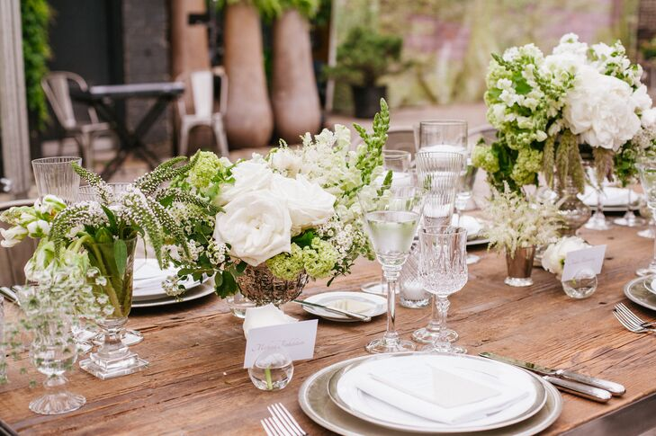 Lush Green and White Reception Tablescape