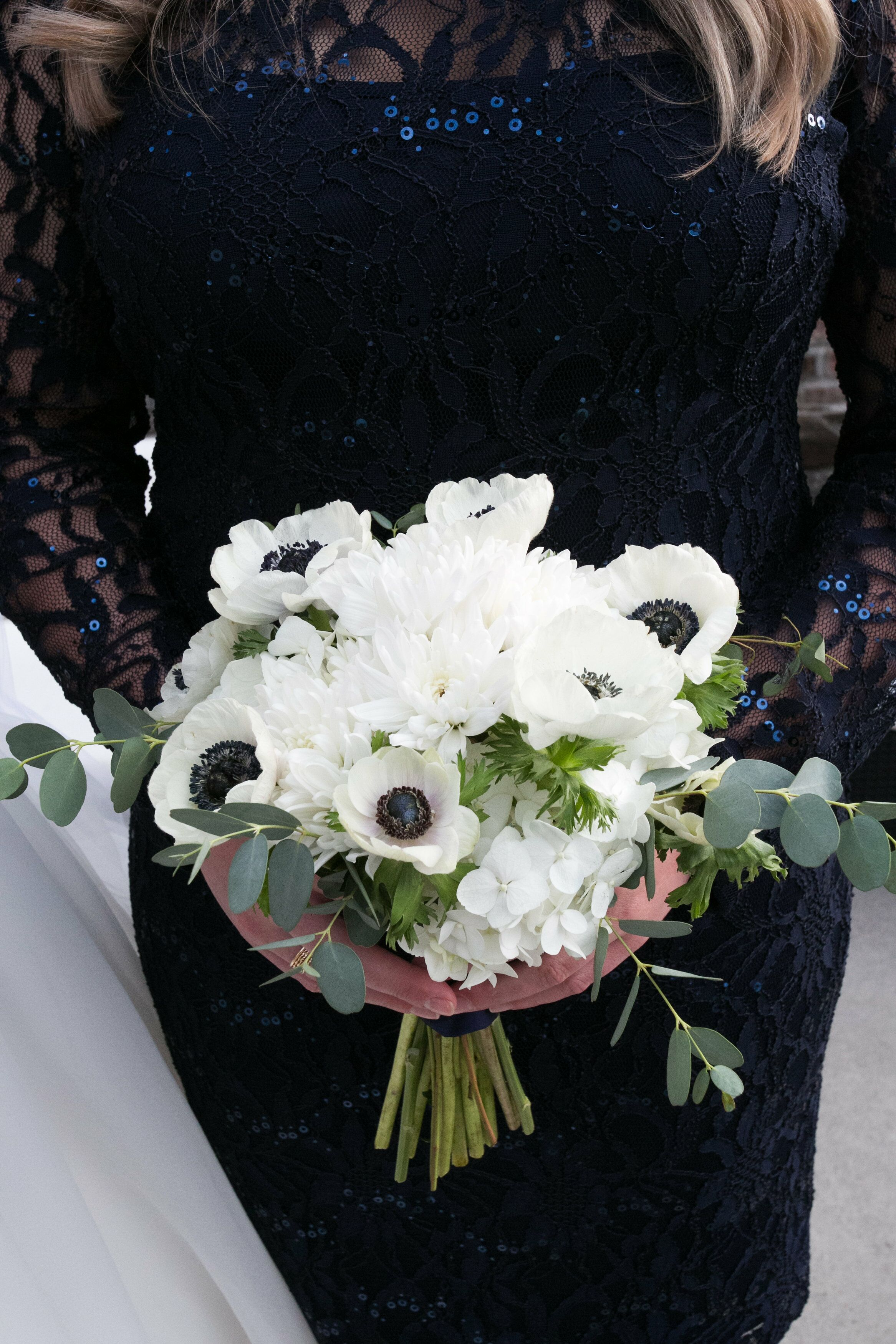 White Anemone Dahlia Bridesmaid Wedding Bouquets