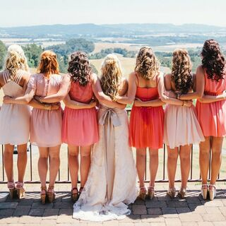 Real Coral Bridesmaid Dresses