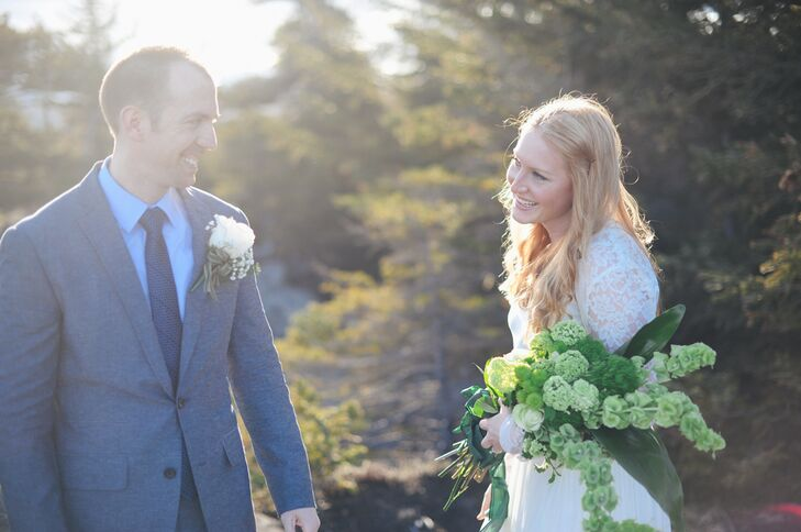 """My bouquet was all green because I wanted it to accent any bit of new plant growth that was happening in early May in Alaska,"" Grace says. ""I also thought it would complement my ginger hair and ivory dress. I didn't even realize how nicely it complemented Clif's suit."""