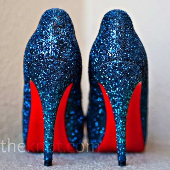 beb6935d4765 This pair of sparkly blue Christian Louboutins matched the couple s navy  wedding color perfectly.