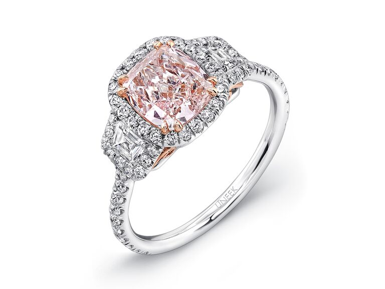 uneek fancy light pink diamond engagement ring - Pink Wedding Rings