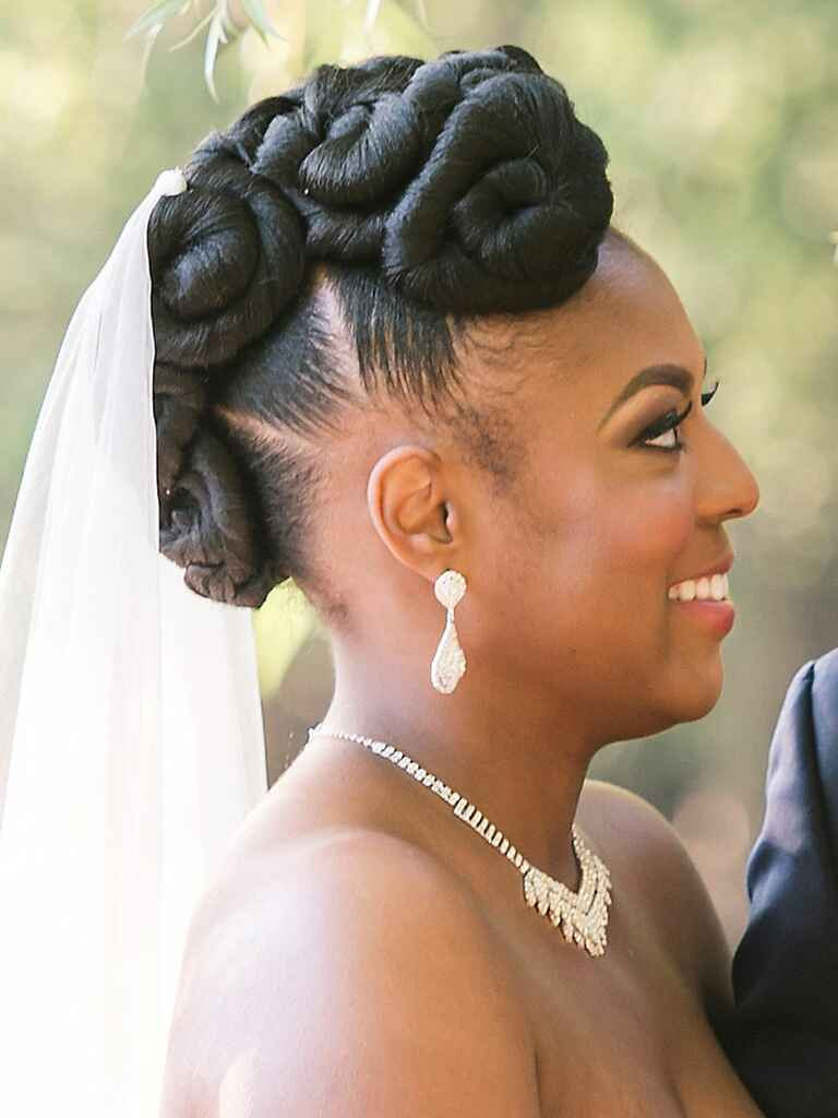 Wedding hair curly updo glamorous