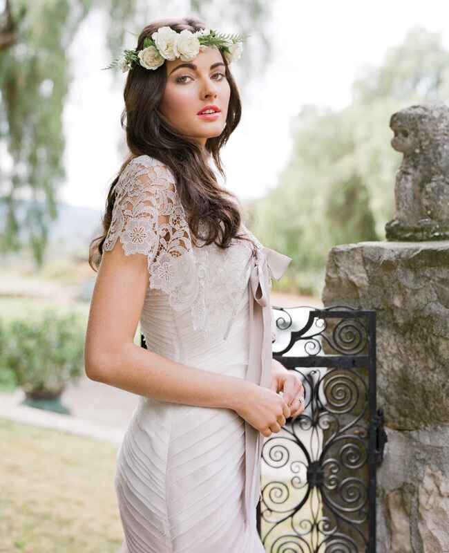 Kelly Faetanini wedding gown with Twigs and Honey cape | Jose Villa | blog.theknot.com