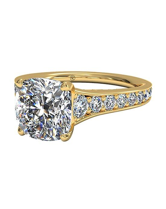 Ritani Cushion Cut Tapered Pavé Diamond Band Engagement Ring in 18kt Yellow Gold (0.48 CTW) Engagement Ring photo