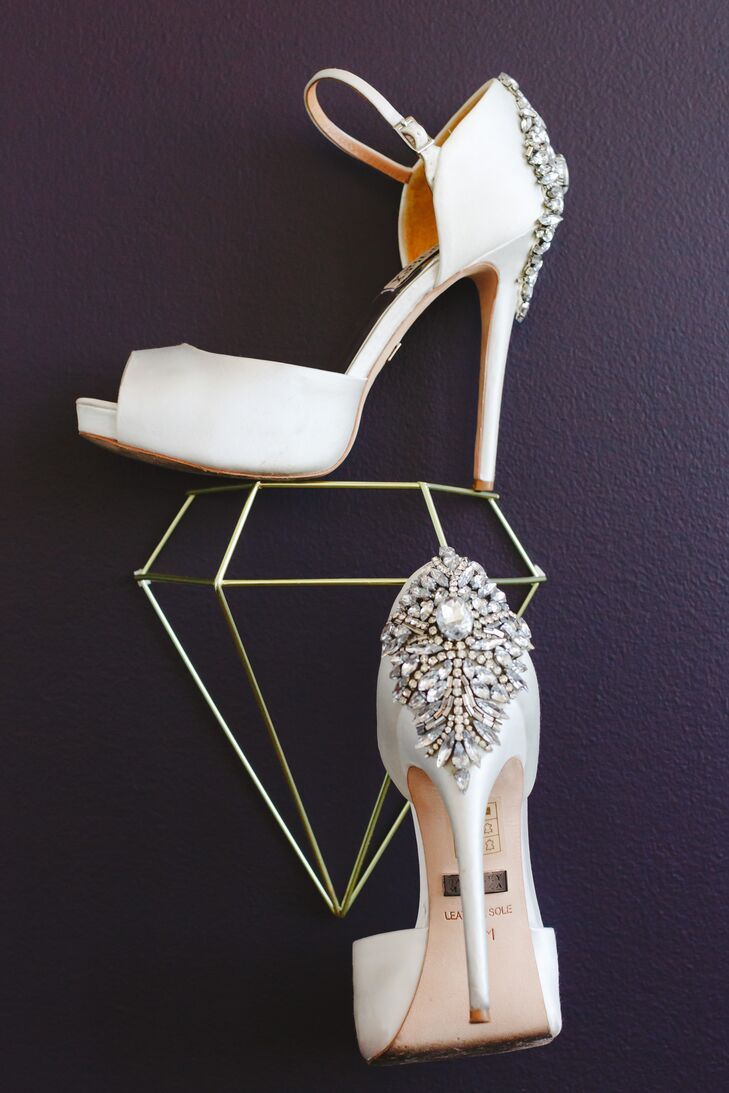 Ivory Shoes with Crystal Accents