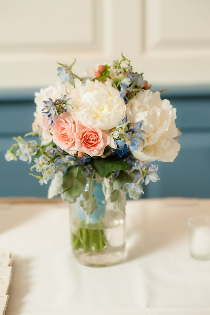 Pink White And Blue Flower Arrangements