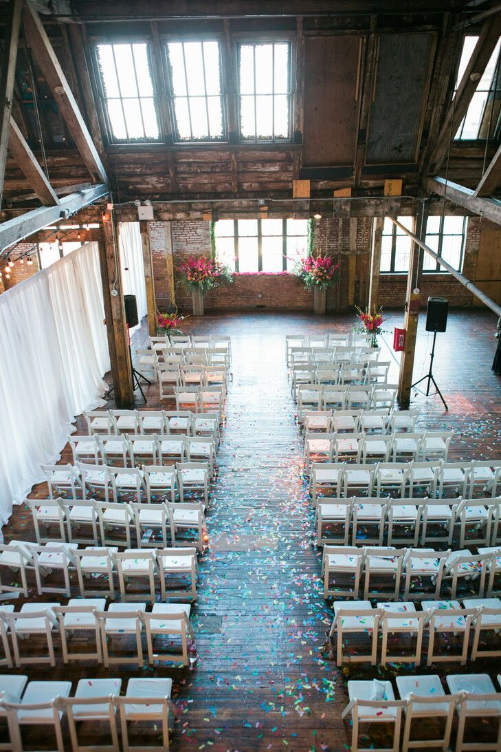 Rooftop wedding venues in nyc - Aerial View Of Greenpoint Loft With Confetti And Wedding Decorations