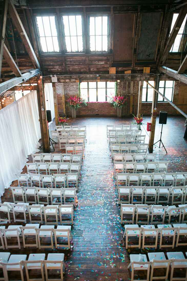 Aerial view of Greenpoint Loft with confetti and wedding decorations