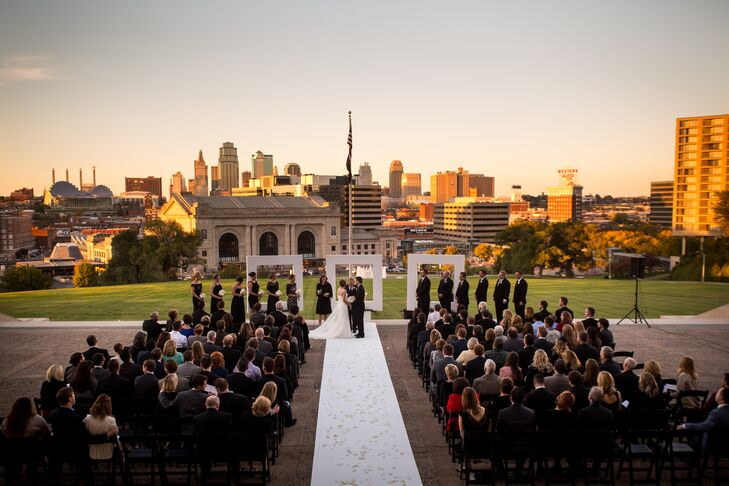 """Knowing we wanted to get married outside, we looked for iconic places around downtown,"" Sarah says. ""When we located the North Lawn of Liberty Memorial, which had the skyline in the background, we knew we found our place to get married."""