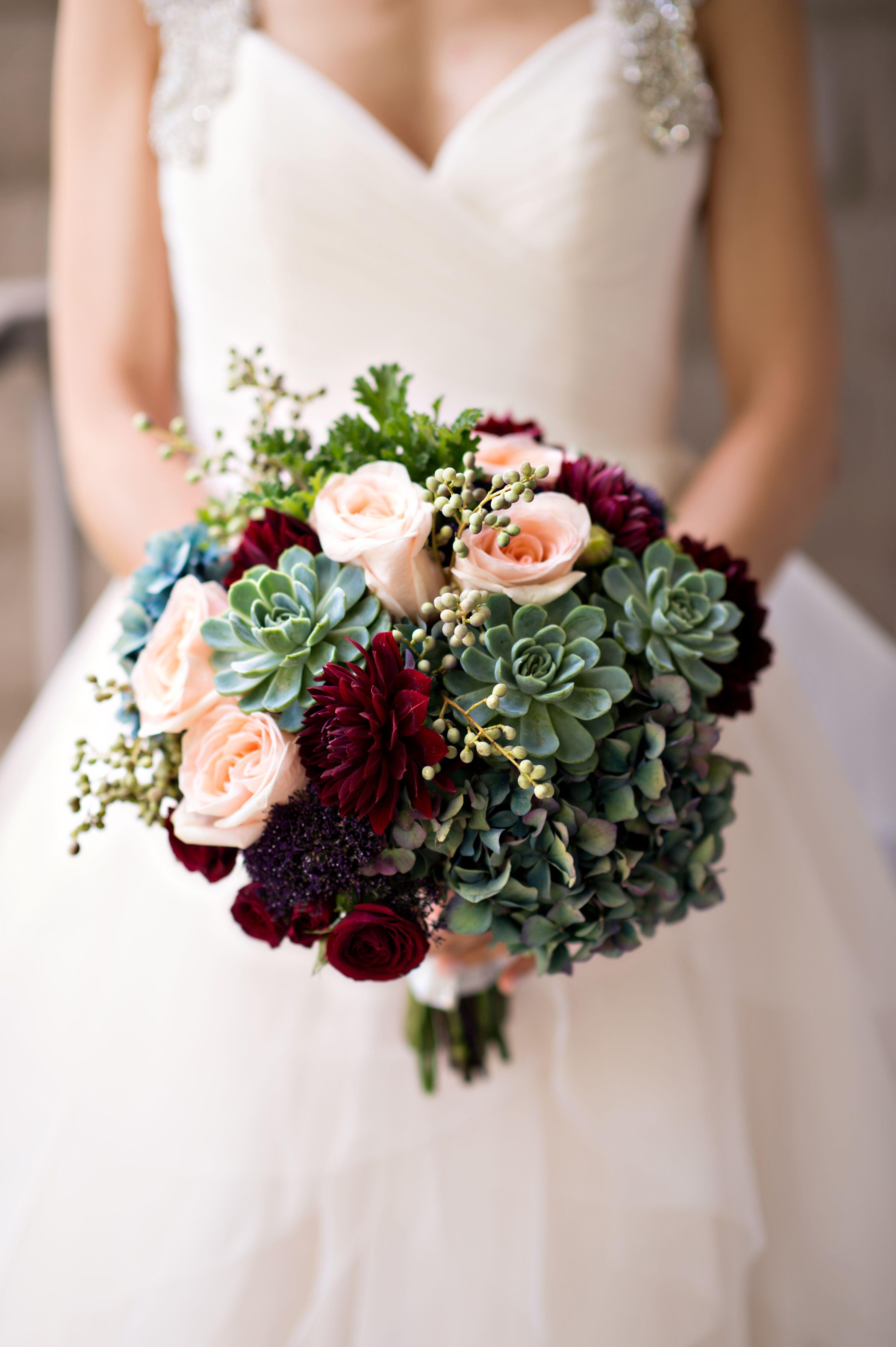Romantic Succulent Rose And Dahlia Bouquet