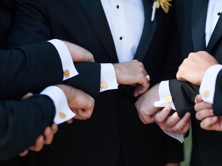 Custom 3-D printed groomsmen cuff links
