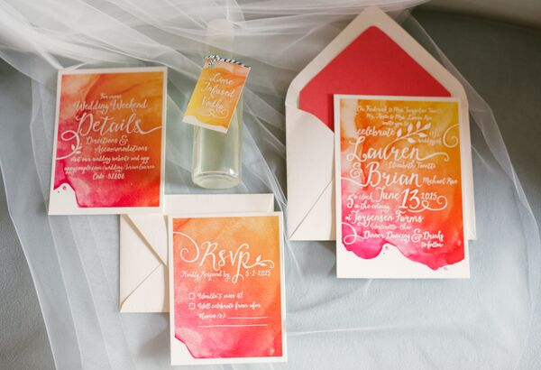 Orange and Pink Watercolor Wedding Invitations