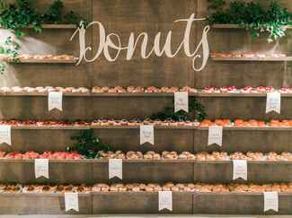 Wedding reception doughnut wall