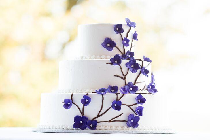 White cake with purple sugar flowers mightylinksfo