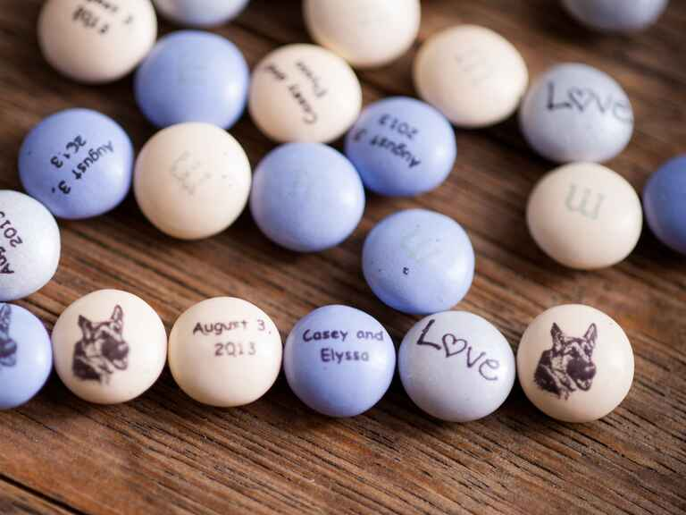 Customized wedding favor M&Ms with a dog picture