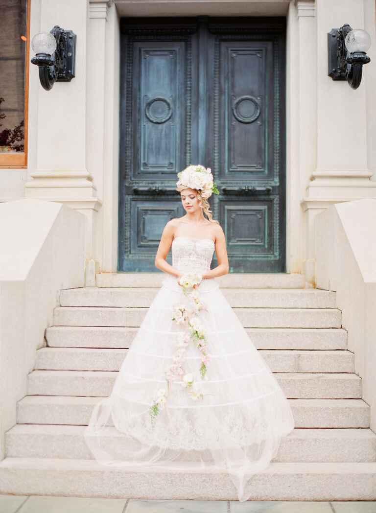 Custom Guillermo Couture cream wedding gown