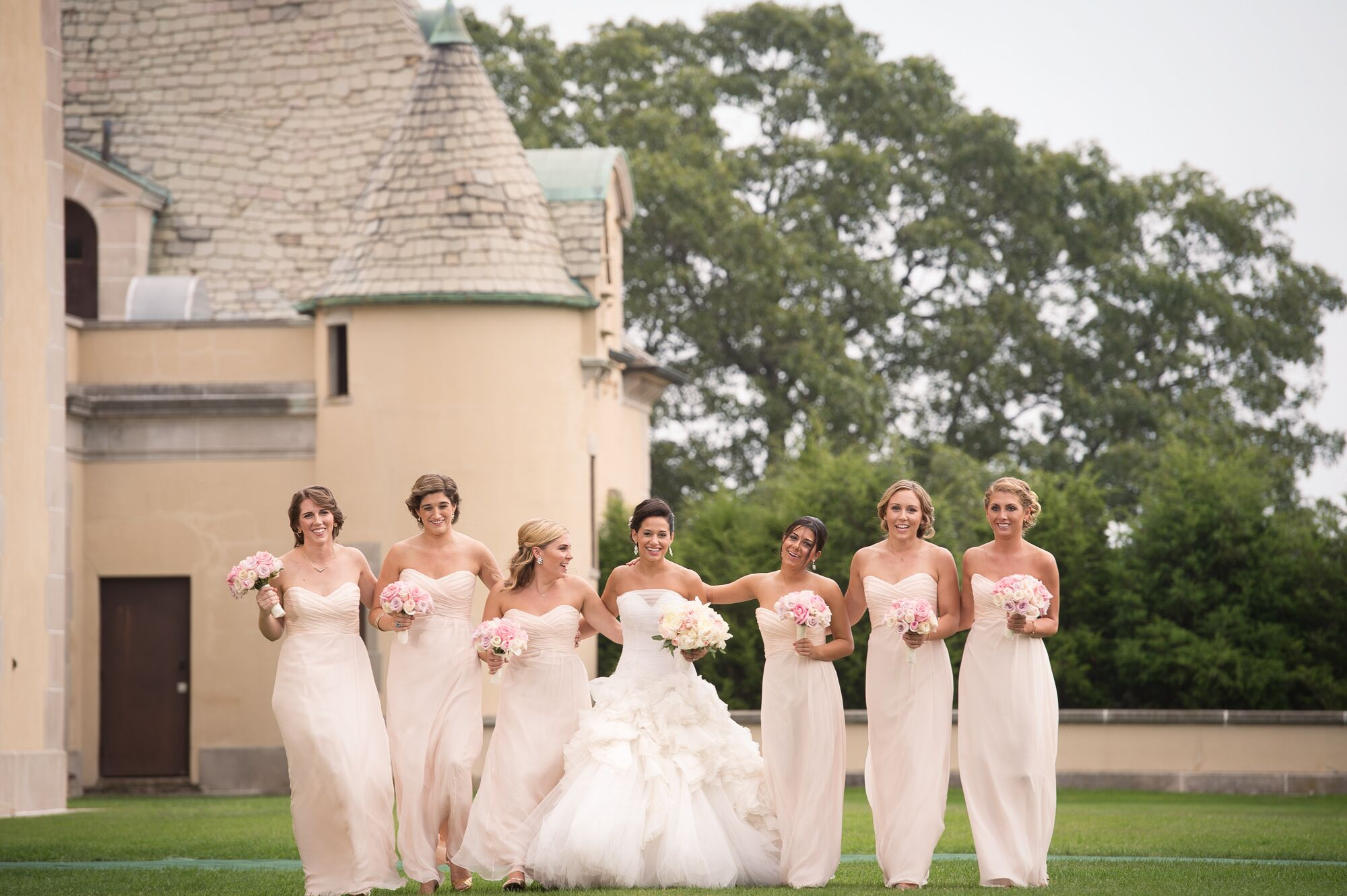 Strapless, Floor-Length, Champagne-Colored Bridesmaid