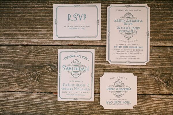 Blue and White Vintage Style Invitations