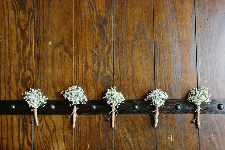 """We decided on very simple baby's breath boutonnieres,"" says Alissa. ""We were looking for something simple that would go along with the theme of a rustic wedding—plus we had to save money somewhere!"""