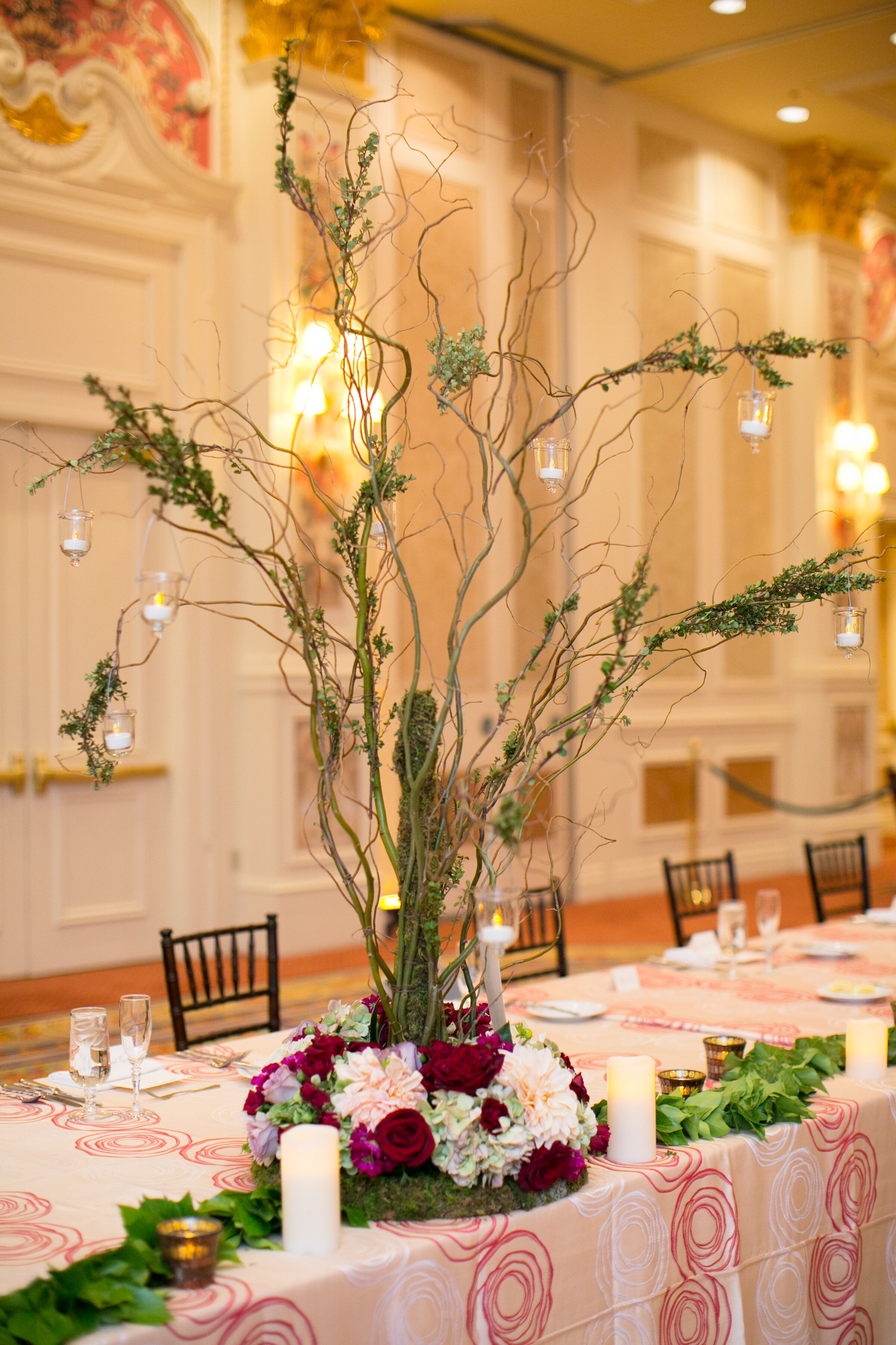 Manzanita branch centerpiece with hanging candles