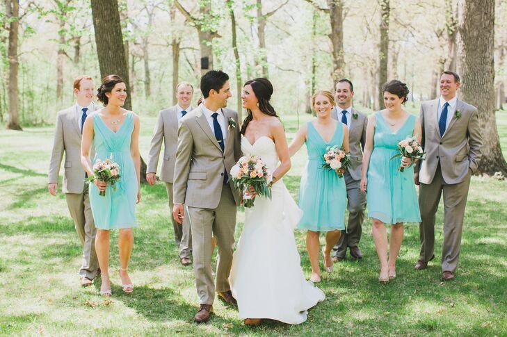 Khaki and Seafoam Green Wedding Party