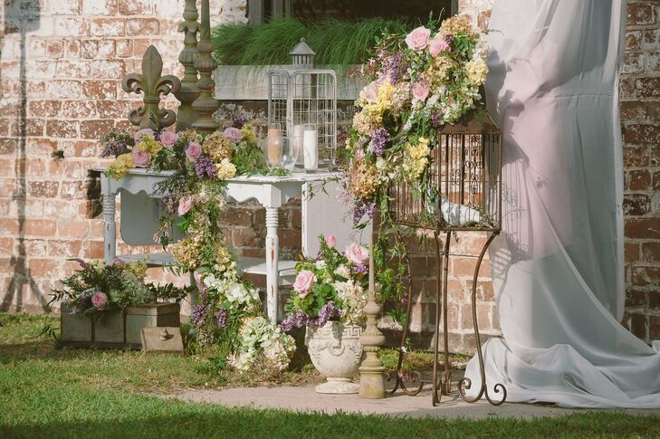 Garden-Inspired Birdcage Ceremony Site Decor