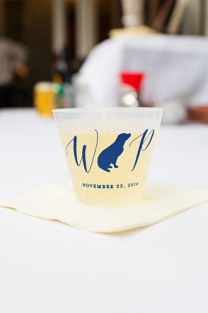 Custom Monogram Cocktail Cup With Dog Silhouette