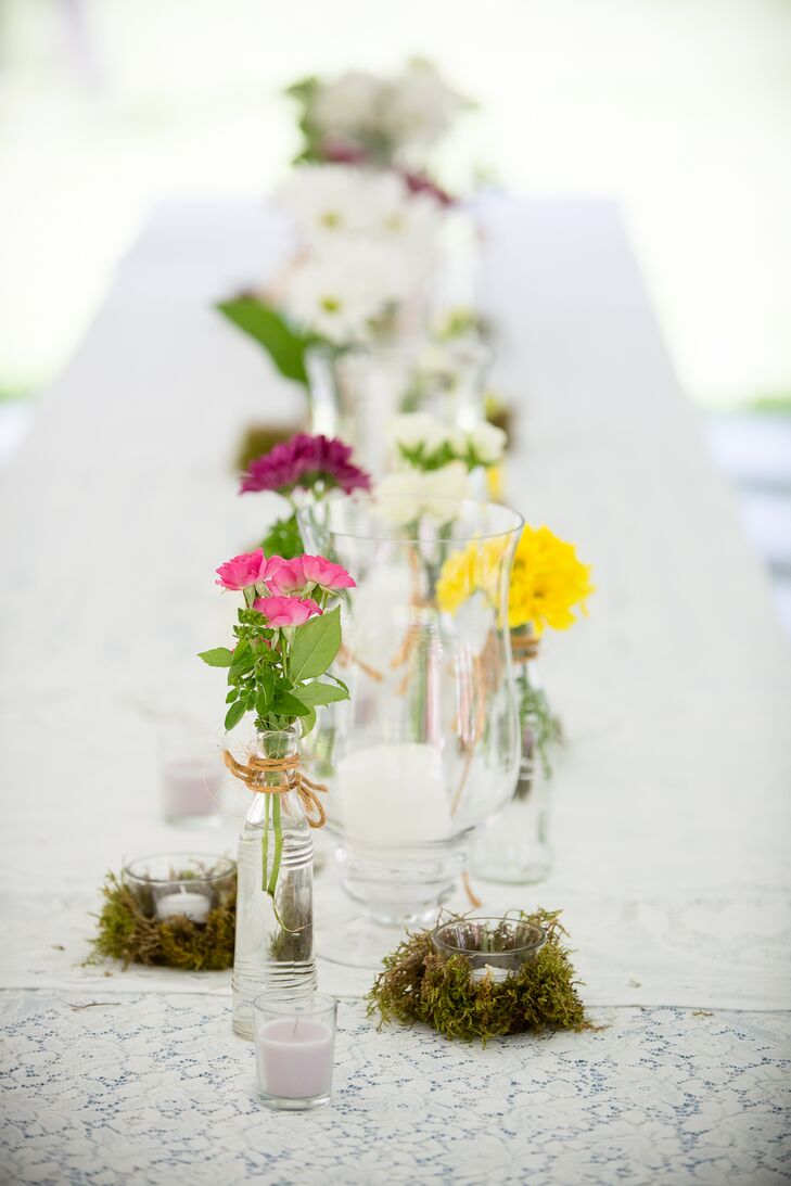 White Lace Table Linens with Wildflower Centerpieces on Farmhouse Tables