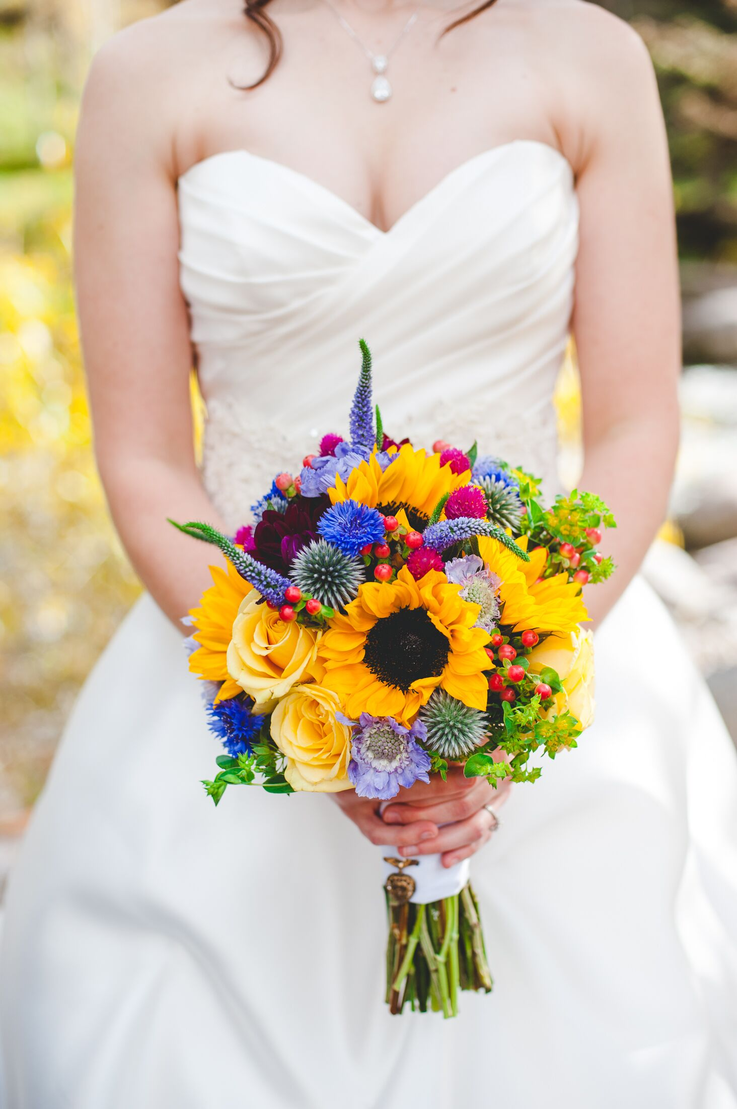 Yellow Wildflower Inspired Bridal Bouquet