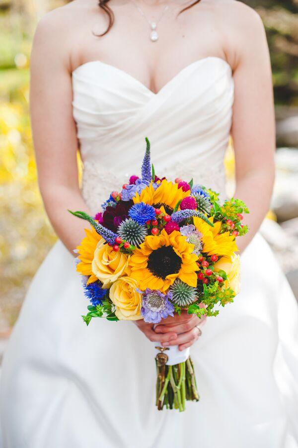 Yellow wedding bouquets yellow wildflower inspired bridal bouquet mightylinksfo