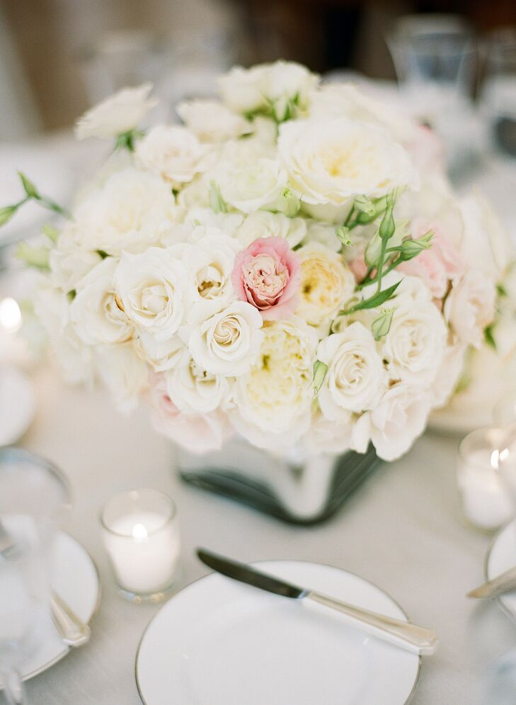 Romantic Ivory Rose Centerpieces