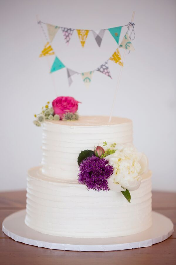 Two-Tier Buttercream Cake with Colorful Flowers