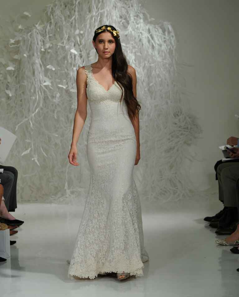 Watters Fall 2016 lace trumpet silhouette wedding dress with V-neckline and lace straps