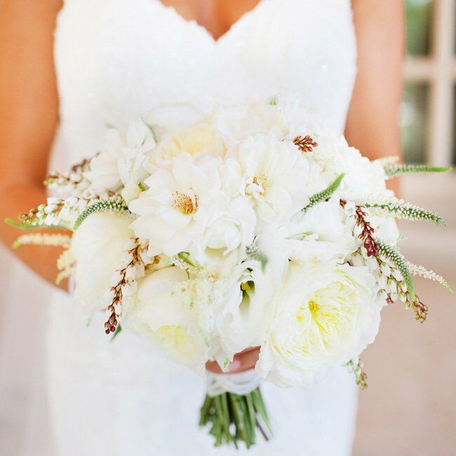 White peony and orchid bridal bouquet