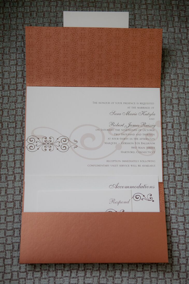 Burnt Orange Pocket-Fold Wedding Invitations