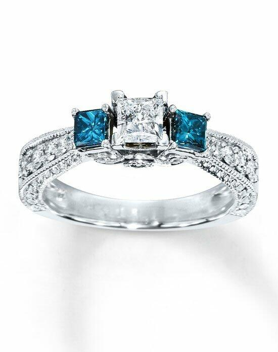 Artistry Diamonds 14kw 7/8cttw White and enhanced blue diamond three stone ring Engagement Ring photo