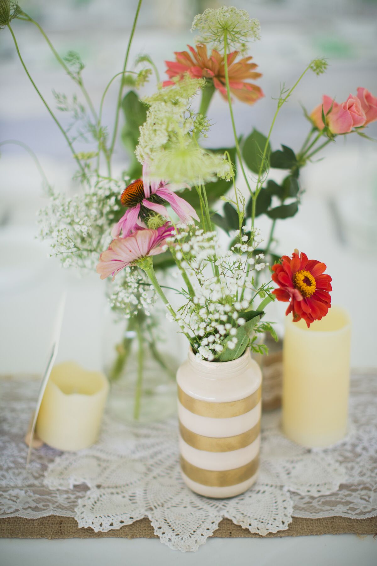 Diy Gold Banded Mason Jar And Wildflower Centerpieces