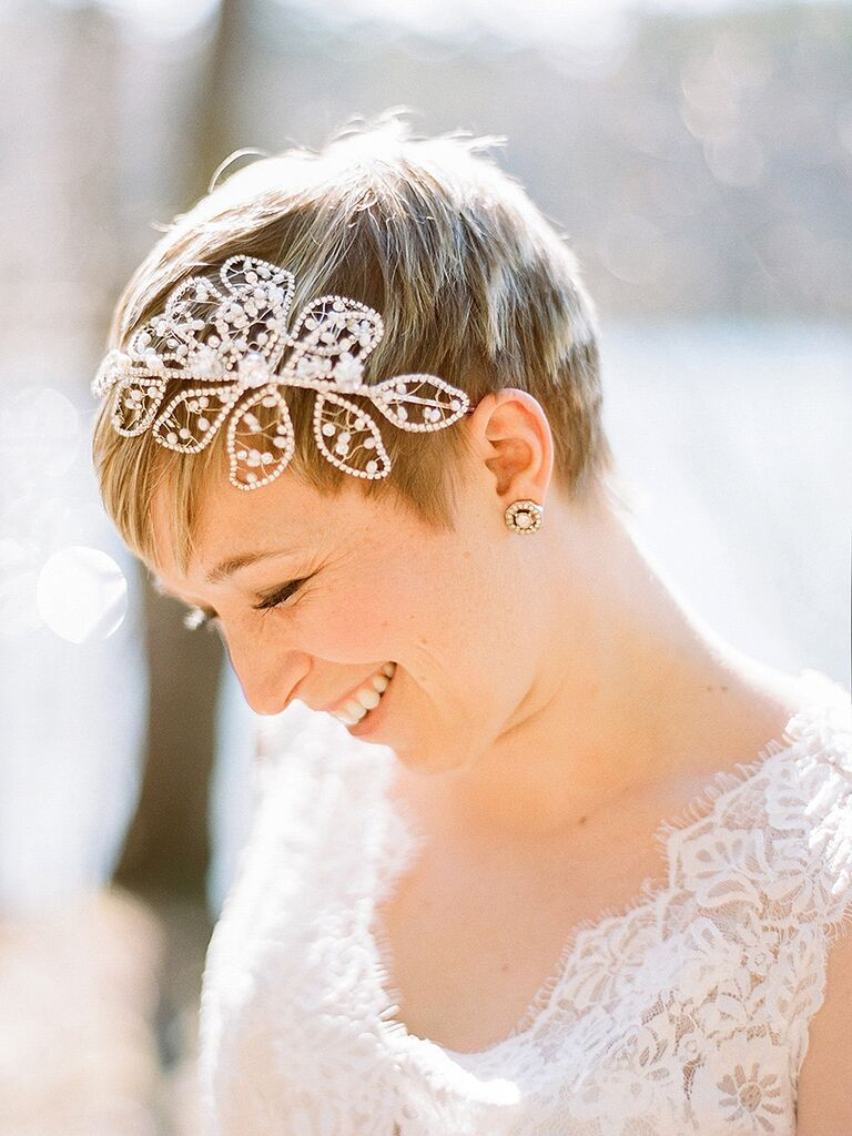 31 stunning wedding hairstyles for short hair pixie wedding hairstyle with a headband junglespirit Images