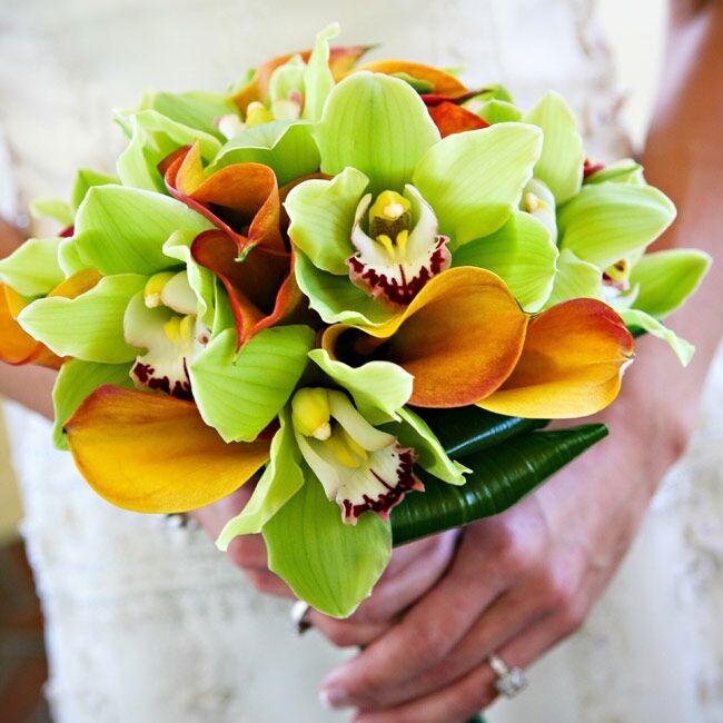 Маленькие свадебные букеты из калл и орхидей, леса купить минске