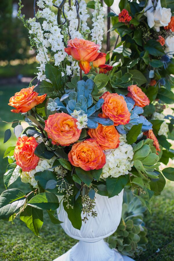 Orange Garden Rose: Orange And White Bridal Bouquet With Silver Brunia And