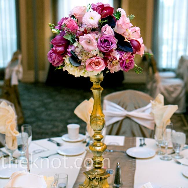 Gold Wedding Centerpiece Decorations: Tall Gold Centerpieces