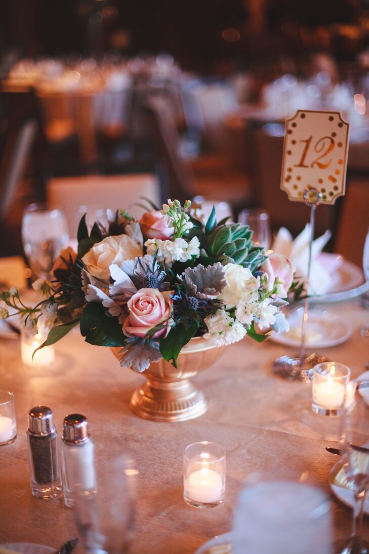Lavender Centerpiece : Low blush gray and green floral centerpiece