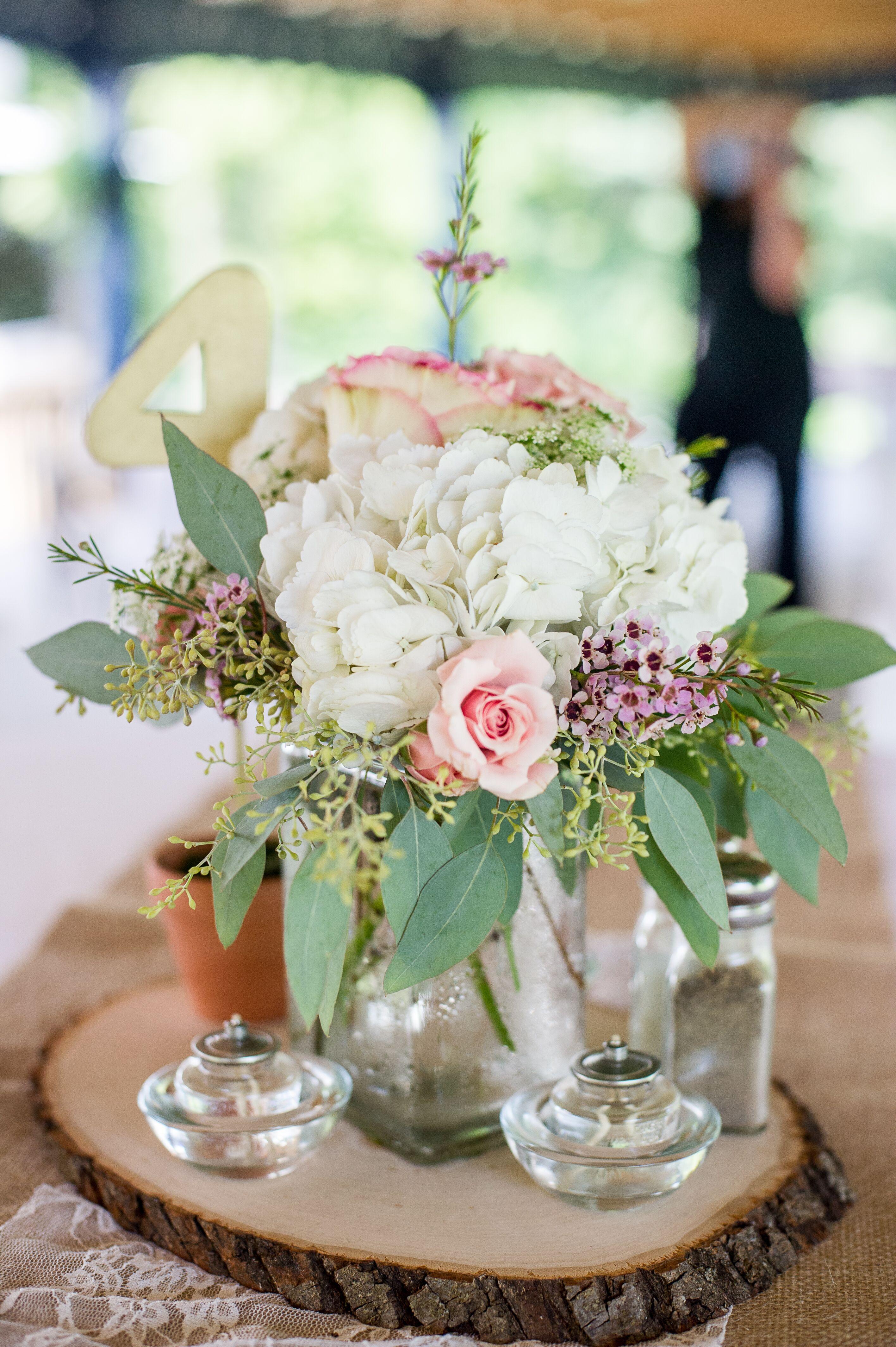 Rose, Hydrangea, Purple Wax and Eucalyptus Centerpieces